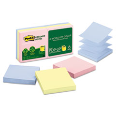 Post-it Greener Notes Recycled Pop-Up Notes Refill, 3 x 3, Helsinki, 6 100-Sheet Pads