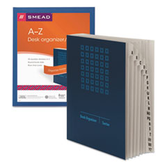 Smead Deluxe Expandable Desk File, A-Z Index, Letter Size, Pressboard, Navy Blue