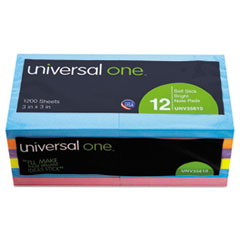 Universal One Standard Self-Stick Bright Pads, 3 x 3, 4 Colors, 12 100-Sheet Pads/Pack