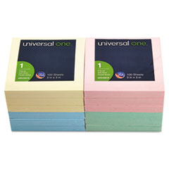 Universal One Fan-Folded Pop-Up Notes, 3 x 3, 4 Pastel Colors, 12 100-Sheet Pads/Pack