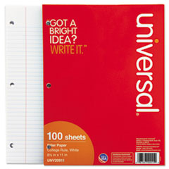 Universal Mediumweight 16-lb. Filler Paper, 11 x 8-1/2, College Ruled, White, 100 Shts/Pk