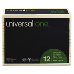 Universal One Recycled Sticky Notes, 4 X 6, Lined, Yellow; 12 100-Sheet Pads/Pack