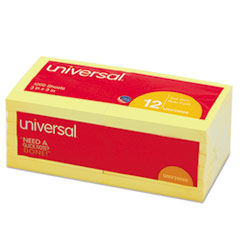 Universal Standard Self-Stick Notes, 3 x 3, Yellow, 12 100-Sheet Pads/Pack