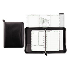 Day-Timer Bonded Leather Organizer Starter Set, 5-1/2 x 8-1/2, Black