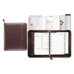 Day-Timer Sienna Simulated Leather Zippered Organizer Starter Set, 5-1/2 x 8-1/2, Brown