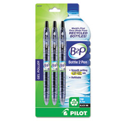 Pilot B2P Bottle-2-Pen Recycled Retractable Gel Ink Pen, Black Ink, .7mm, 3/Pack