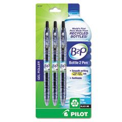 Pilot B2P Bottle-2-Pen Recycled Retractable Gel Ink Pen, Black Ink, .7mm, 3/Pack