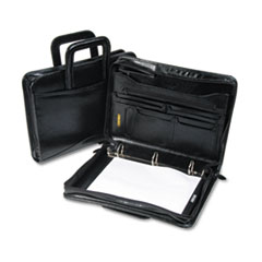Bond Street, Ltd. Leather Multi-Ring Zippered Portfolio, 1-1/2