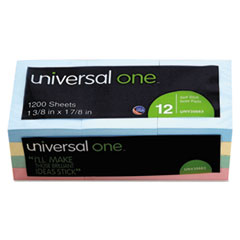 Universal One Self-Stick Notes, 1-1/2 x 2, 4 Pastel Colors, 12 100-Sheet Pads/Pack