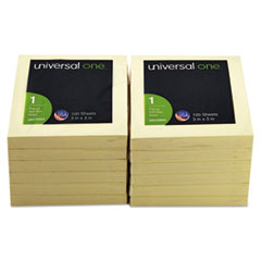 Universal One Fan-Folded Pop-Up Notes, 3 x 3, Yellow, 12 100-Sheet Pads/Pack