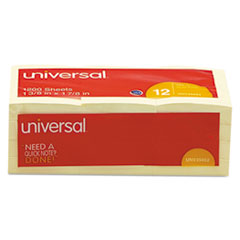 Universal Standard Self-Stick Notes, 1-1/2 x 2, Yellow, 12 100-Sheet Pad/Pack