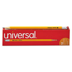 Universal Economy Woodcase Pencil, HB #2, Yellow Barrel, Dozen