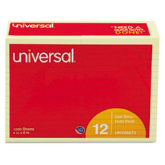 Universal Standard Self-Stick Notes, 4 x 6, Lined, Yellow, 12 100-Sheet Pads/Pack