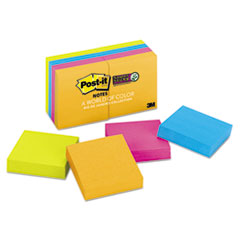 Post-it Notes Super Sticky Pads in Rio de Janeiro Colors, 2 x 2, 90/Pad, 8 Pads/Pack