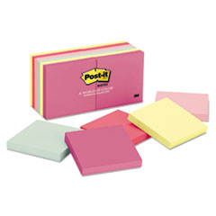 Post-it Notes Original Pads in Marseille Colors, 3 x 3, 100/Pad, 12 Pads/Pack