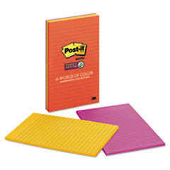 Post-it Notes Super Sticky Pads in Marrakesh Colors, 5 x 8, Lined, 45/Pad, 4 Pads/Pack