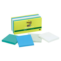 Post-it Notes Super Sticky Recycled Notes in Bora Bora Colors, 3 x 3, 90/Pad, 12 Pads/Pack