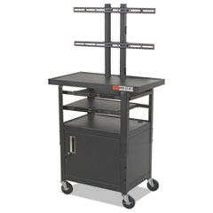 BALT Height-Adjustable TV Cart, Four-Shelf, 24w x 18d x 62h, Black (Box 1 of 2)