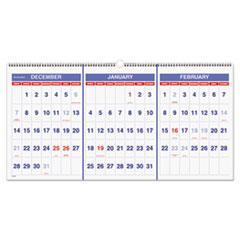 AT-A-GLANCE Horizontal-Format Three-Month Reference Wall Calendar, 23 1/2 x 12, 2015-2017