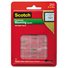 Scotch Permanent Heavy-Duty Mounting Squares for Fabric Walls, 7/10