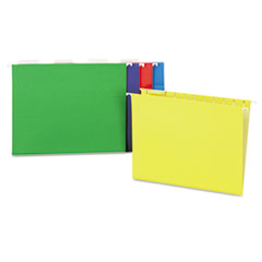 Universal One Hanging File Folders, 1/5 Tab, 11 Point, Letter, Assorted Colors, 25/Box