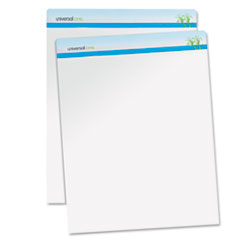 Universal One Sugarcane Based Easel Pads, Unruled, 27 x 34, White, 50 Sheets, 2 Pads/Pack