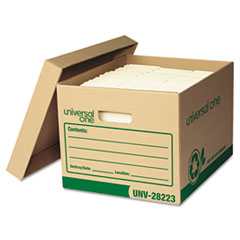Universal One Recycled Record Storage Box, Letter/Legal, 12 x 15 x 10, Kraft, 12/Carton