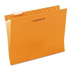 Universal One Hanging File Folder, 1/5 Tab, Letter, Orange, 25/BX