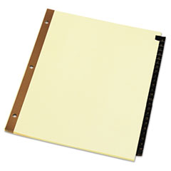 Universal One Leather-Look Mylar Tab Dividers, 25 Alphabet Tabs, Letter, Black/Gold, Set of 25