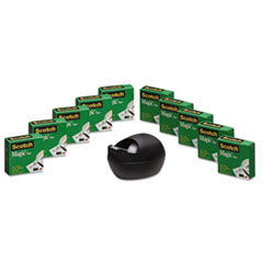 Scotch Magic Tape Value Pack with Black Karim Rashid Dispenser, 3/4
