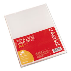 Universal Project Folders, Jacket, Poly, Letter, Clear, 25/Pack