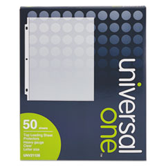 Universal One Top-Load Poly Sheet Protectors, Heavy Gauge, Clear, 50/Box