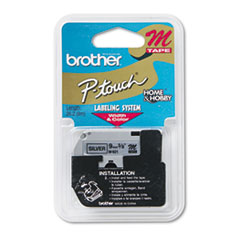 Brother P-Touch M Series Tape Cartridge for P-Touch Labelers, 3/8w, Black on Silver