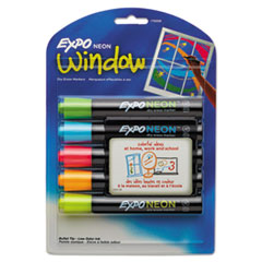 EXPO Neon Dry Erase Marker, Bullet Tip, Assorted, 5 per Set