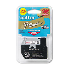 Brother P-Touch M Series Tape Cartridge for P-Touch Labelers, 1/2w, Red on White