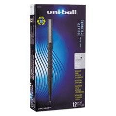 uni-ball Roller Ball Stick Dye-Based Pen, Black Ink, Micro, Dozen