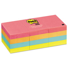 Post-it Notes Original Pads in Capetown Colors, 1 1/2 x 2, 100/Pad, 12 Pads/Pack
