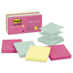 Post-it Pop-up Notes Original Pop-up Refill, 3 x 3, Marseille, 100/Pad, 12 Pads/Pack