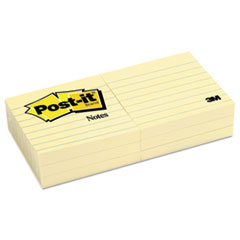Post-it Notes Original Pads in Canary Yellow, 3 x 3, Lined, 100/Pad, 6 Pads/Pack