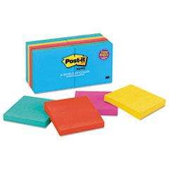 Post-it Notes Original Pads in Jaipur Colors, 3 x 3, 100/Pad, 14 Pads/Pack