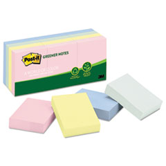 Post-it Greener Notes Original Recycled Note Pads, 1 1/2 x 2, Helsinki, 100/Pad, 12 Pads/Pack