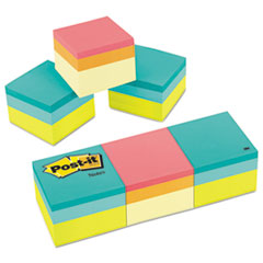 Post-it Notes Mini Cubes, 2 x 2, Green Wave, 400/Pad, 3 Pads/Pack