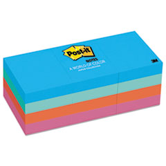 Post-it Notes Original Pads in Jaipur Colors, 1-1/2 x 2, 100/Pad, 12 Pads/Pack