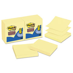 Post-it Pop-up Notes Super Sticky Pop-up 3 x 3 Note Refill, Canary Yellow, 90/Pad, 12 Pads/Pack