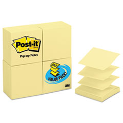 Post-it Pop-up Notes Original Canary Yellow Pop-Up Refill, 3 x 3, 100/Pad, 24 Pads/Pack