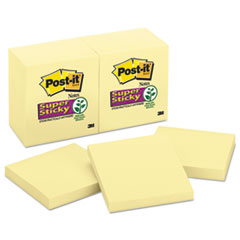 Post-it Notes Super Sticky Canary Yellow Note Pads, 3 x 3, 90/Pad, 12 Pads/Pack