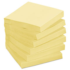 Post-it Greener Notes Recycled Notes, 3 x 3, Canary Yellow, 24 75-Sheet Pads/Pack