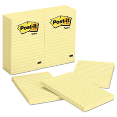 Post-it Notes Original Notes, 4 x 6, Lined, Canary Yellow, 12 100-Sheet Pads/Pack