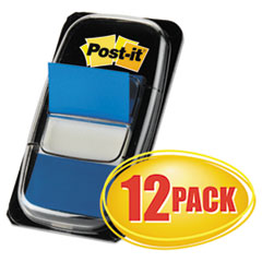 Post-it Flags Marking Page Flags in Dispensers, Blue, 12 50-Flag Dispensers/Pack