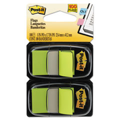Post-it Flags Standard Page Flags in Dispenser, Bright Green, 100 Flags/Dispenser